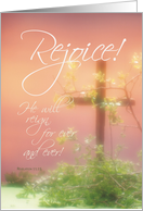 Rejoice Easter Cross & Plants, Christian Religious card