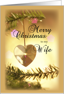 Wife Christmas with Gold Heart and Tree card