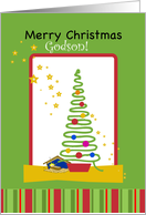 Godson Christmas with Tree, Ornaments and Stars card