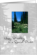 Priest Birthday Priest with Trees and Flowers card