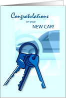 New Car Congratulations with Keys and Car card