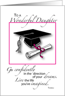 Daughter, Graduation, Cap and Diploma card