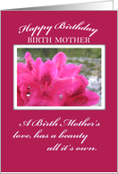 Pink Flowers Birth Mother Birthday card