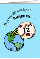 12th Birthday Baseball Home Run Out of World card