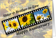 Sister & Brother-in-Law, Wedding Anniversary Sunflower Filmstrip card