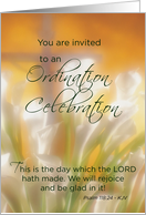 Invitation Ordination Celebration with Lilies and Cross, Religious card
