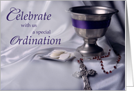Ordination Invitation with Chalice, Rosary and Hosts, Religious card