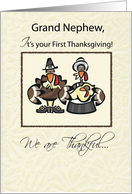 Grand Nephew First Thanksgiving Turkey Family, Holiday card