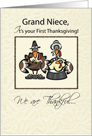 Grand Niece First Thanksgiving Turkey Family, Holiday card