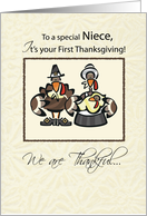 Niece First Thanksgiving Turkey Family, Holiday card