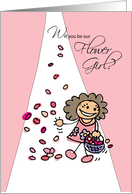 Will You Be Flower Girl Invitation, Stick Figure on Pink card