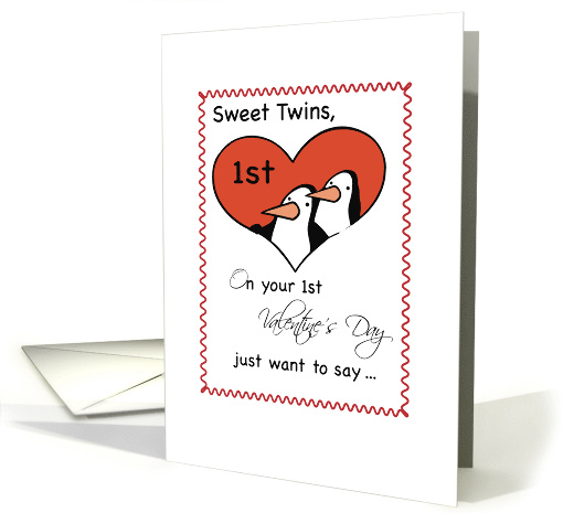 Boy Twins, 1st Valentine's Day Penguin inside Heart card (884121)
