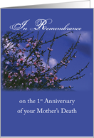 Remembrance 1st Anniversary Death of Mother, Religious card