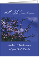Remembrance 1st Anniversary Death of Son, Religious card