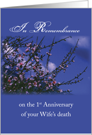 Remembrance 1st Anniversary Death of Wife, Religious card