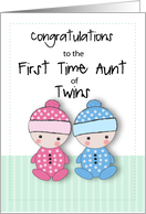 First Time Aunt of Twins Congratulations, Niece and Nephew card