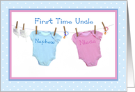 First Time Uncle of Twins, Niece and Nephew card