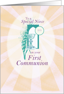 Niece, First Communion Chalice and Wheat on Blue card