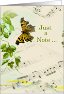 Hello Note with Butterfly on Sheet Music card