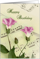 Morning Glory Flowers Music Notes Birthday Card