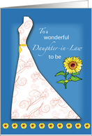 Future Daughter-in-Law to be Bridal Shower, Sunflowers on Blue card