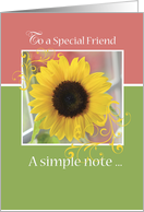 Friend, Thinking of You with Sunflower card