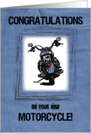 New Motorcycle Congratulations, Illustration on Blue Jeans card
