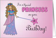 4th Birthday Pink & Purple Princess, with Sparkly Look and Wand card