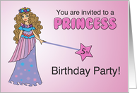 5th Princess Birthday Party Invitation, Pink, Purple with Sparkly Look card