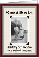 90th Birthday Invitation Card