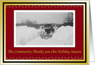 Snow Plow Driver Christmas Holiday thank You card