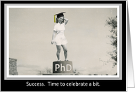PhD Graduation Party invitation - Funny Retro girl card