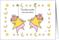 New Baby Twin Girls bow card