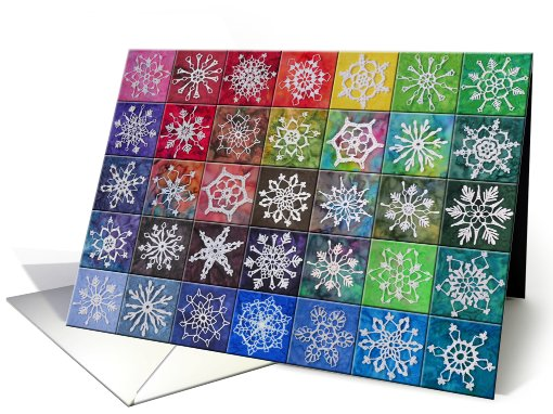 Crocheted Snowflake Tiles card (534102)
