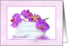Spa Party for Birthday invitation with orchids and starfish card