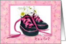 Baby Girl announcement-daisy bouquet in sneakers card