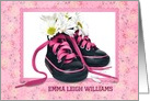 Baby Girl personalize announcement, daisy bouquet in sneakers card