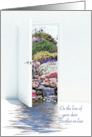 Loss of Brother in law sympathy, open door with waterfalls in garden card