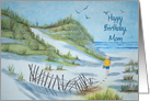 Mom's birthday watercolor painting of child walking on the seashore card