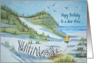 Niece's birthday watercolor art child walking on the seashore card