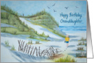Granddaughter's birthday - watercolor of a child on a beach card