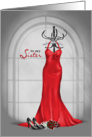 Matron of Honor Request for Sister-red dress with roses & black pumps card