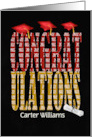 2020 graduation red and gold congratulations with custom name and hats card