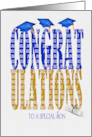 2020 graduation for son blue and gold text on white with blue hats card
