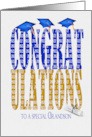 Grandson's Graduation 2020 in blue and gold text on white with hats card