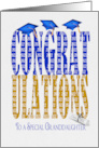 Granddaughter's Graduation 2020 in blue and gold text and hats card