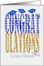 2020 graduation for daughter blue and gold text on white with hats card