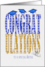 Sister's Graduation 2020 in blue and gold text with hats and diploma card