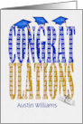 Graduation 2020 customized name in blue and gold with blue hats card