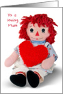Birthday for Mum-old rag doll with red heart isolated on white card